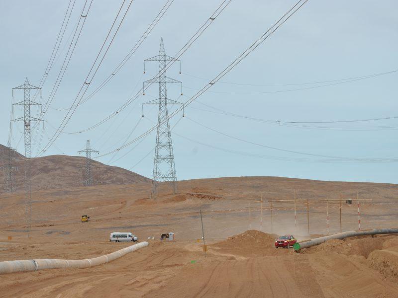 ITO atravieso de línea 2×500 kV. sobre acueducto de Minera Sierra Gorda